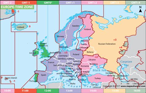 Buy Digital Clock by Europe Time Zone Map Current Local Time In Europe