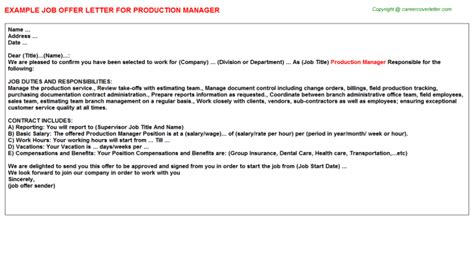 production manager offer letter sle