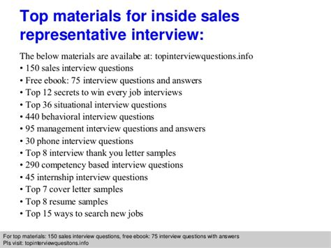 inside sales representative questions and answers