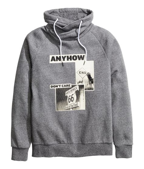 Chimney Neck Hoodie Mens - h m funnel collar sweatshirt in gray for lyst