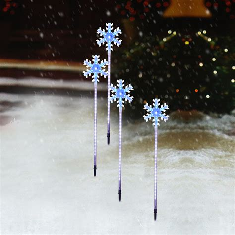 Snowflake Outdoor Lights 3ft Linked Snow Light Up Led 3d Snowflake Stake Outdoor Garden Pathway Yard Ebay