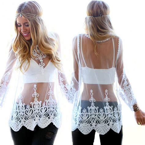 Sleeve See Through Top lace sheer blouse see through floral blousa