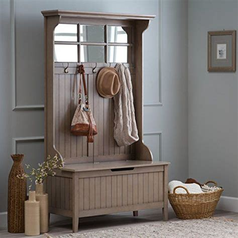 hall tree storage bench with mirror hall storage bench gray entryway hall tree seat coat rack