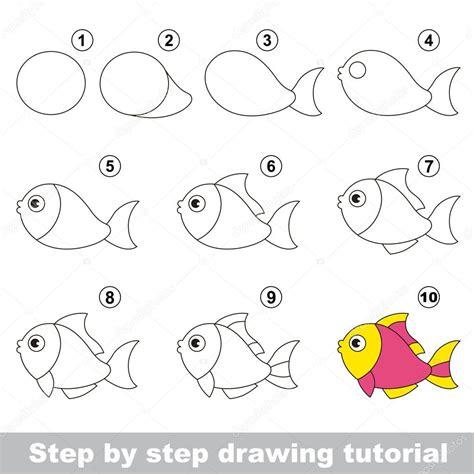 javascript tutorial step by step engra 231 ado peixe tutorial de desenho vetor de stock