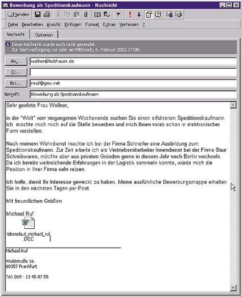 Bewerbung Per Mail E Mail Bewerbung Muster Lebenslauf