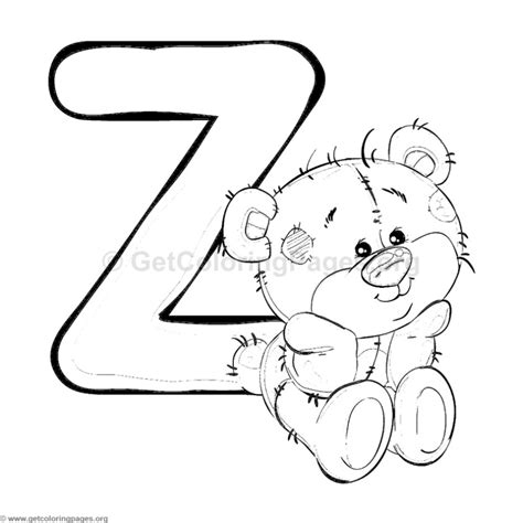 coloring z teddy alphabet letter z coloring pages
