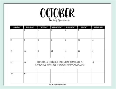 Calendar October 2017 Word Free Printable Fully Editable 2017 Calendar Templates In