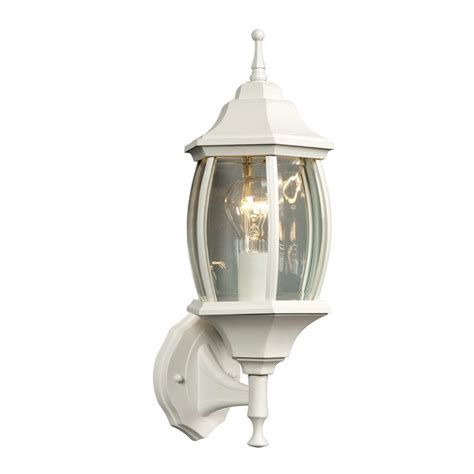 White Outdoor Wall Lights Shop Galaxy 17 5 In H White Outdoor Wall Light At Lowes