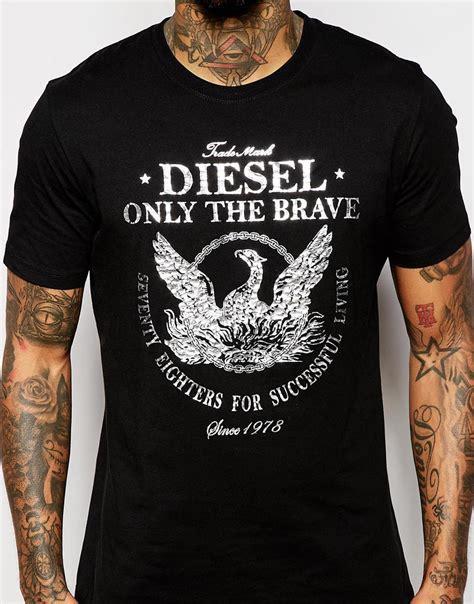 Tshirt Diesel All Colour Bdc diesel t shirt t dresy foil logo print in black for lyst