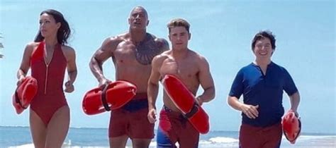baywatch movie 2016 cast zac efron took a tumble on the baywatch set live for films