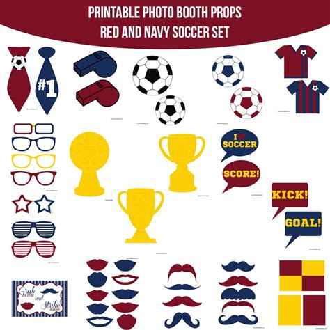 printable golf photo booth props instant download soccer red navy printable photo booth