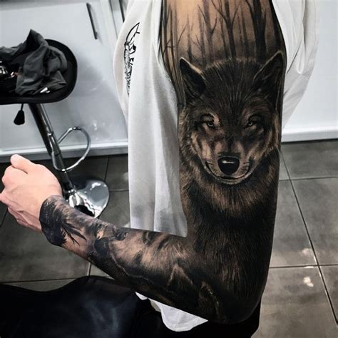 tattoo arm wolf 50 realistic wolf tattoo designs for men canine ink ideas