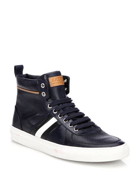 bally perforated leather high top sneakers in blue lyst