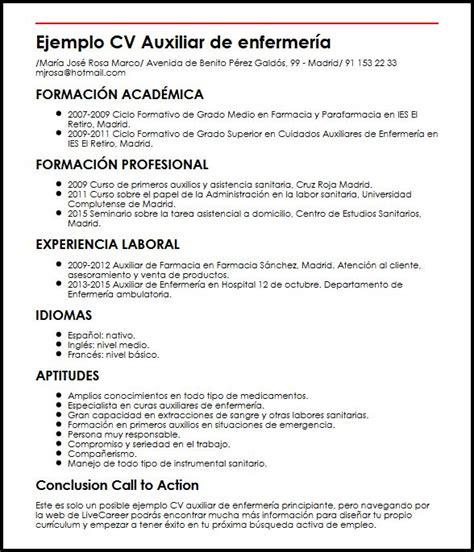 Modelo Curriculum Vitae De Enfermeria Ejemplo Cv Auxiliar De Enfermeria Principiante Micvideal