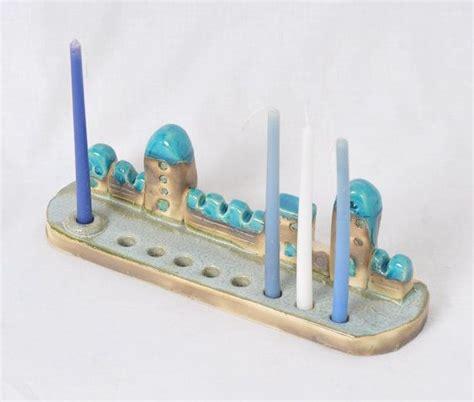 Handmade Judaica - ceramic menorah with tiny houses of jerusalem hanukkah