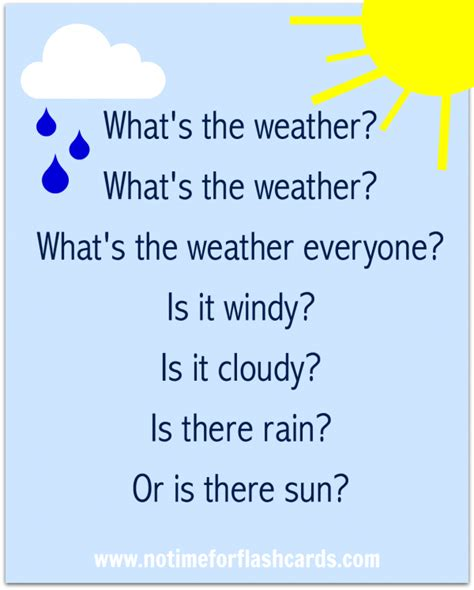 Weather Pattern Lyrics | preschool weather song free printable lyrics no time