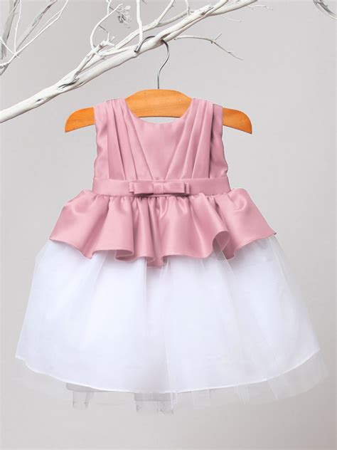 Dhanny Virna Dusty Pink Ay dusty pleated satin tulle dress
