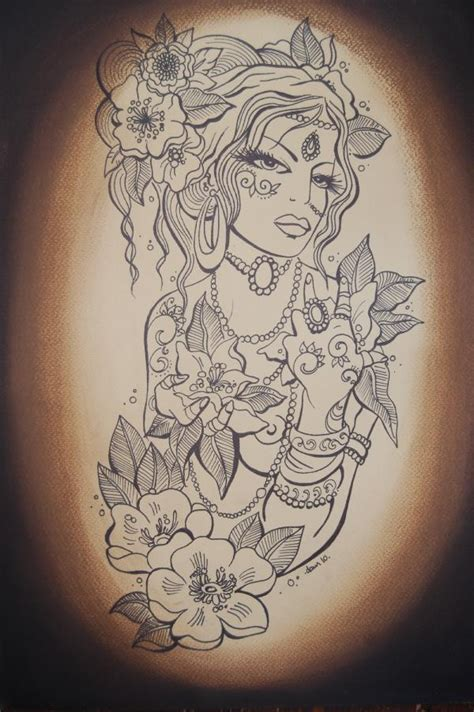 gypsy girl tattoo design design in 2017 real photo