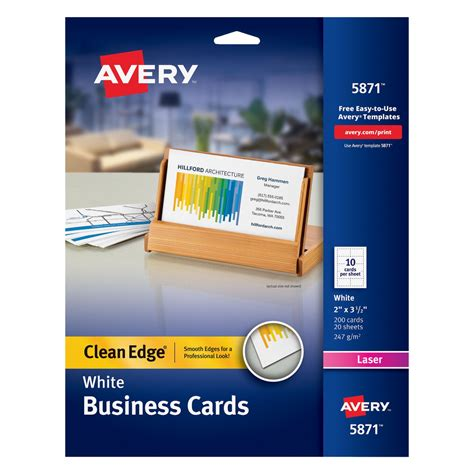 5882 lasaer clean edge business card template avery two side printable premium business cards white
