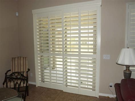 Sliding Shutters For Sliding Glass Doors Plantation Shutters On Sliding Glass Doors Traditional By The Louver Shop
