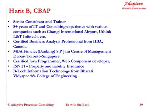 Consulting Vs Banking Post Mba by Adaptive Business Analysis Skill Enhancement Program V6 0