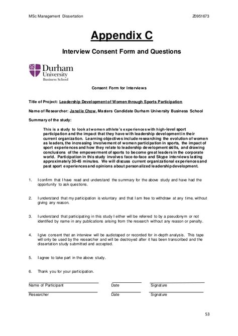 dissertation consent form durham dissertation 2015