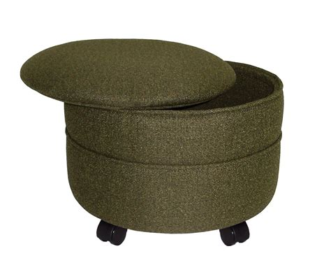 circular storage ottoman wholesale bulk dropshipper mossy green fabric round