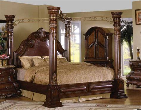 canopy poster bed caledonian traditional dark brown cherry california king