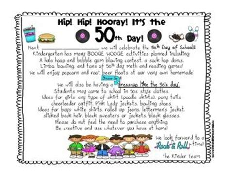 Parent Letter Day Of School 25 best images about 50th day of school on