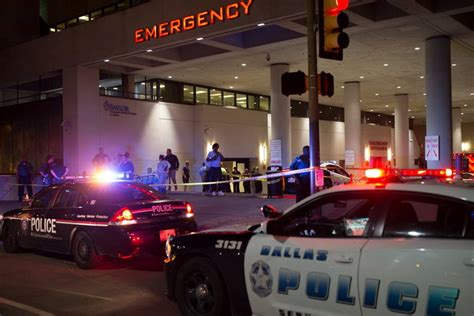 chesapeake emergency room dallas gathered outside of baylor hospital emergency room entrance on july 7