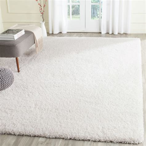 white rug safavieh shag white area rug reviews wayfair