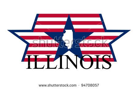 Illinois Search By Name Illinois State Map Flag And Name Stock Vector Illustration 94708057