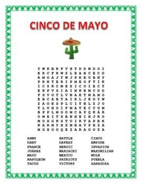 In Mexico Search Cinco De Mayo Word Search And Cross Word