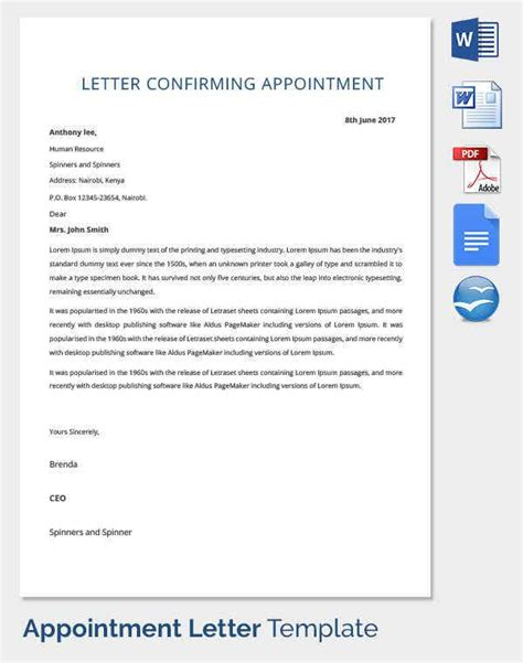 appointment letter templates sample