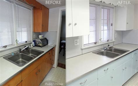 before and after painted kitchen cabinets kitchen makeover puddy s house