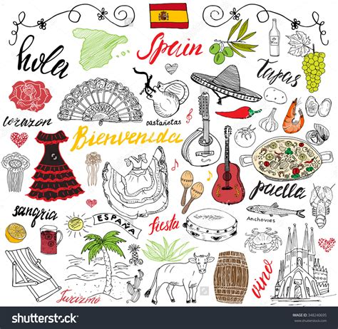 doodle barcelona food clipart 14