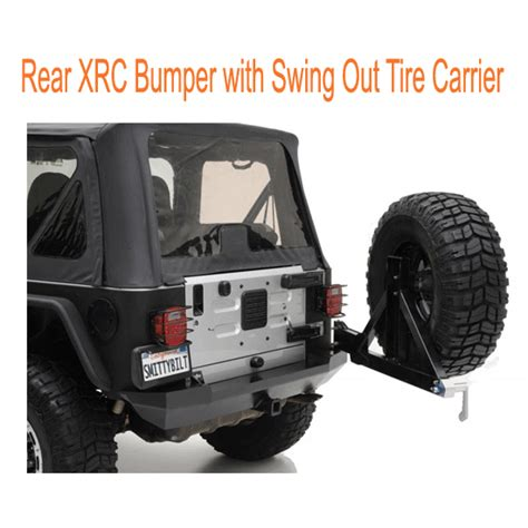 swing out tire carrier 7665376654 smittybilt rear xrc bumper with swing out