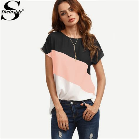 Patchwork Tops - sheinside cut and sew patchwork tops color block casual