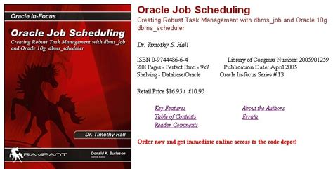 Oracle Dba Internship by Oracle Scheduling