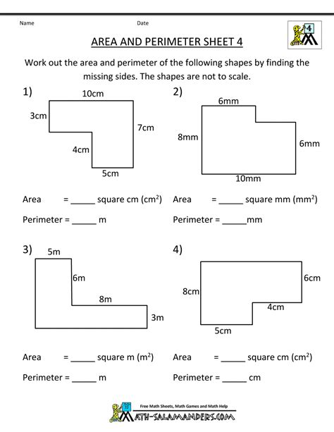 area printable sheets area worksheets