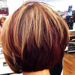 bobbed hair with underneath red blonde and dark highlights and lowlights red mahogany