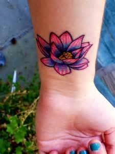 Colorful Lotus Flower Tattoos Lotus Flower Wrist Idea For
