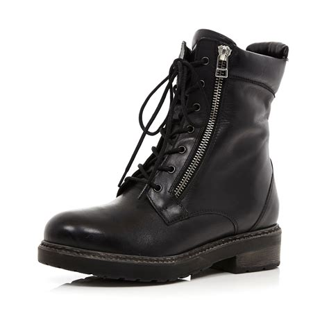black lace up biker boots river island black lace up biker boots in black lyst