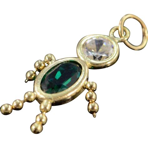 10k birthstone baby child charm pendant yellow gold from