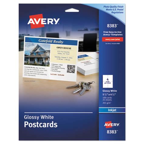 printable glossy postcards ave8383 avery photo quality glossy postcards for inkjet