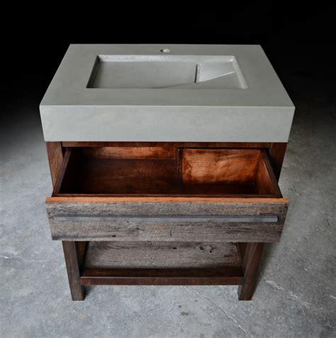 rustic modern concrete wood steel vanity rustic