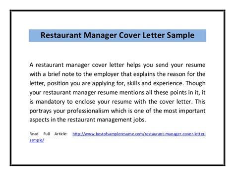 Restaurant Manager Cover Letter Pdf Restaurant Manager Cover Letter Sle Pdf