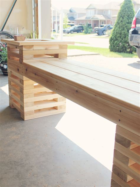 diy outdoor cedar bench  planters shelterness