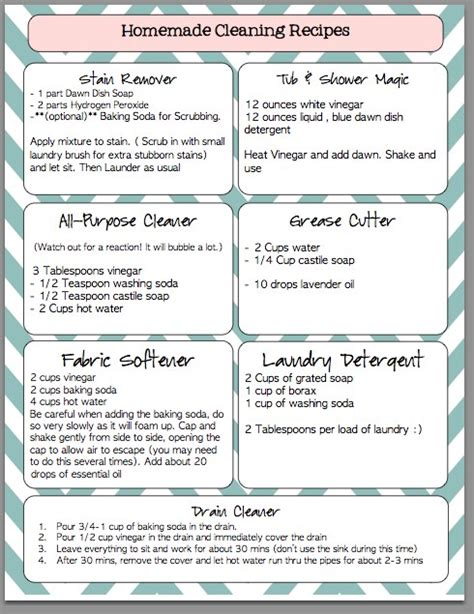 printable recipes igriza homemade cleaning recipes printable