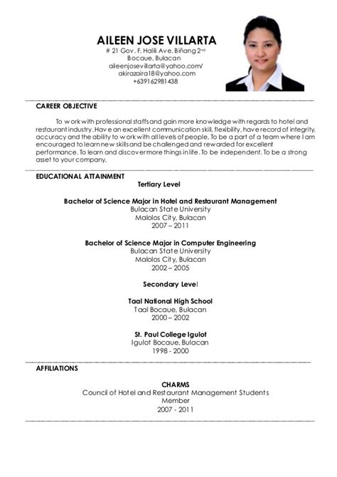 sle resume for ojt hotel and restaurant management students aileen j villarta resume